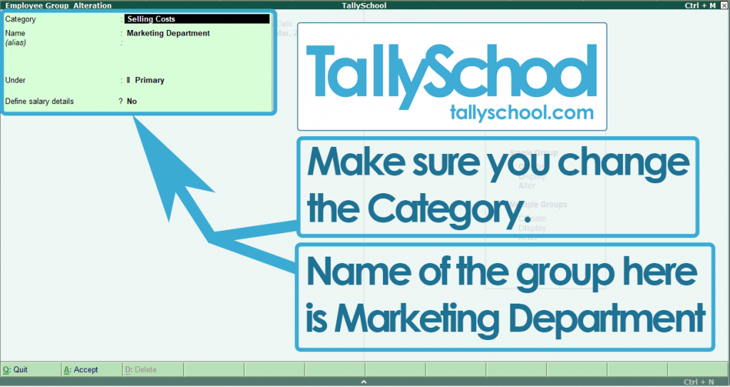 Creating Employee Group in Tally ERP 9