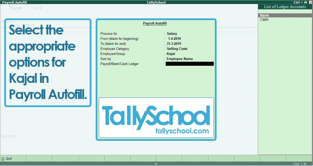 Creating Payroll Voucher in Tally ERP 9 for Kajal