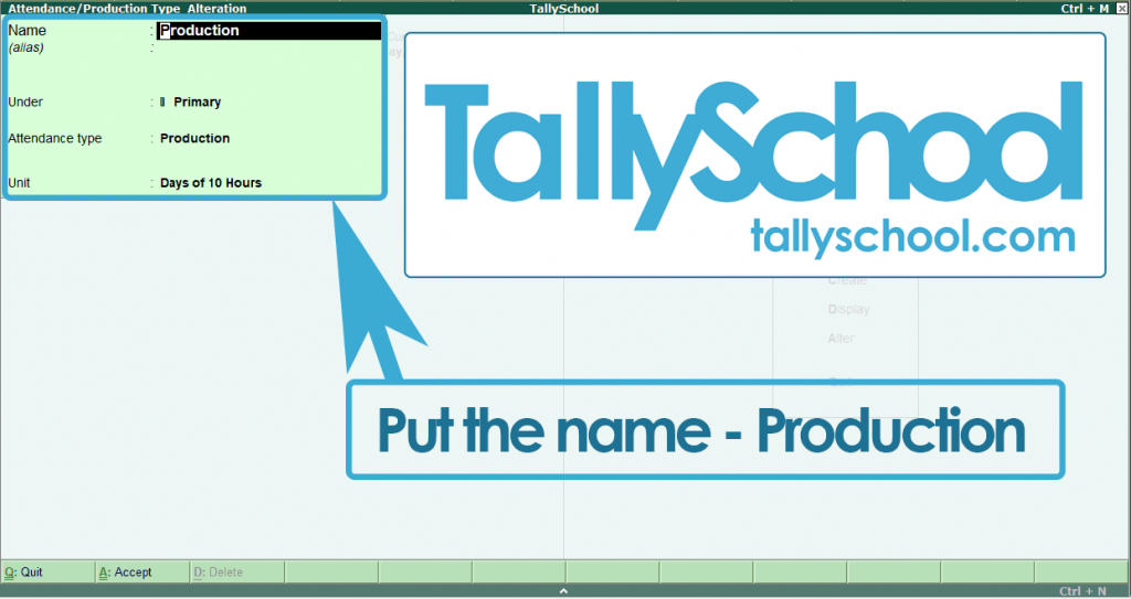 Creating Production Type for Payroll in Tally ERP 9