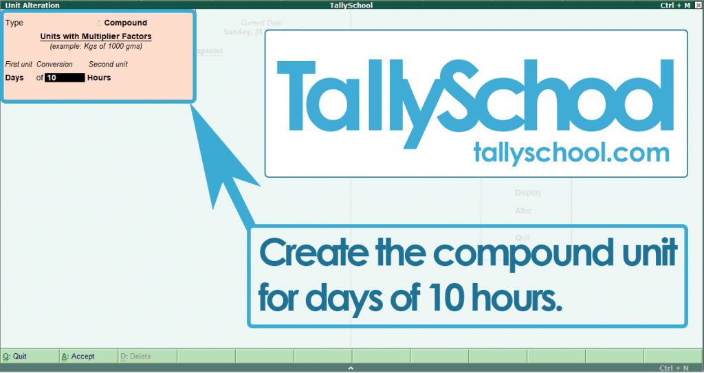 Creating a Compound Unit for Work in Tally ERP 9