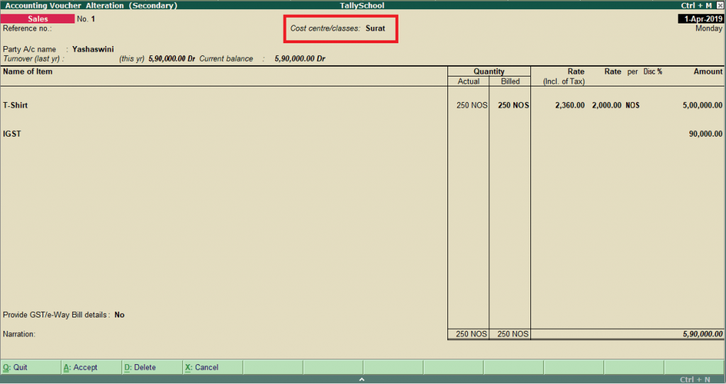 Creating a GST Sales Voucher with cost centre in Tally