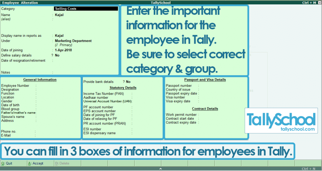 Creating an Employee in Tally ERP 9