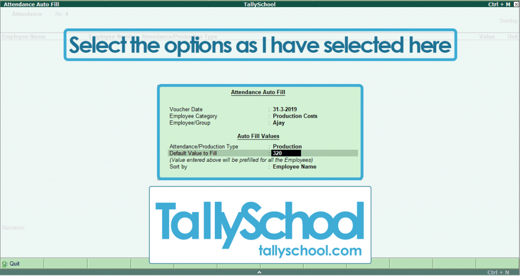 Creating another Attendance Voucher in Tally ERP 9