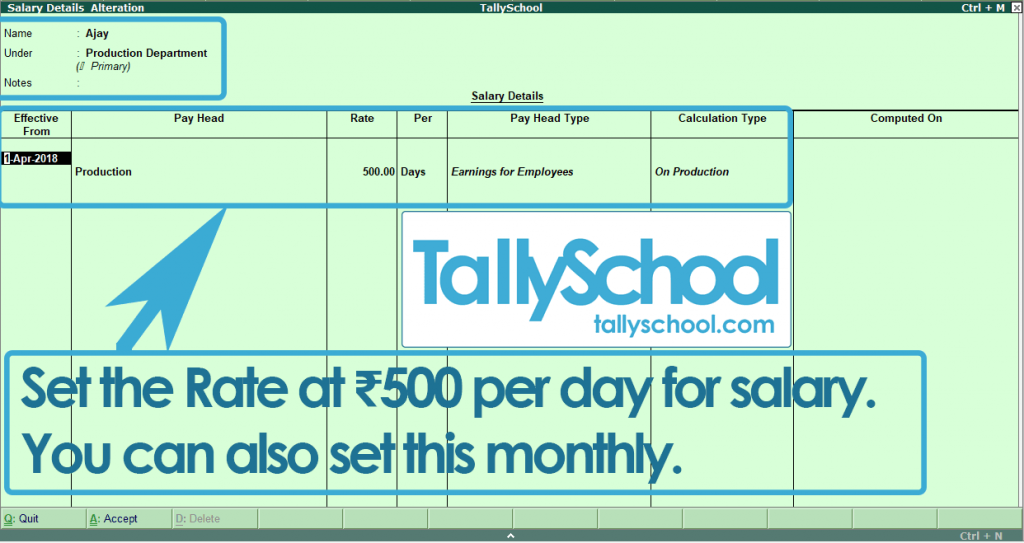 Defining Salary Details for Ajay in Tally ERP 9