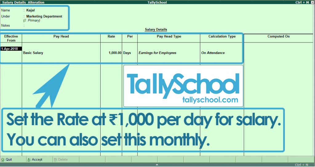 Defining Salary Details for Kajal in Tally ERP 9