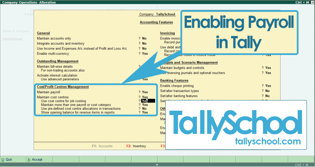 Enabling Payroll in Tally ERP 9