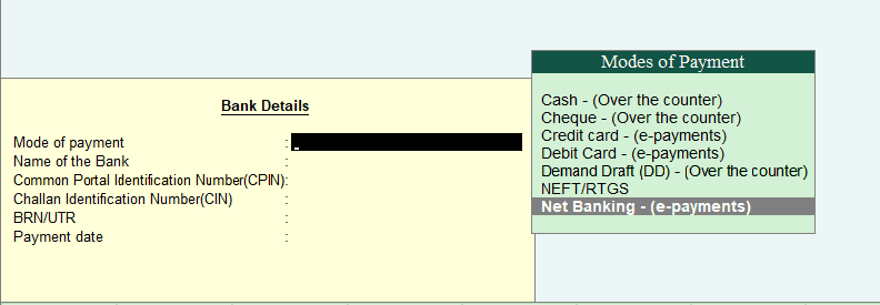 GST Bank and Payment Details in Tally