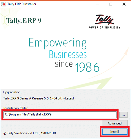 Tally ERP 9 Installation Window