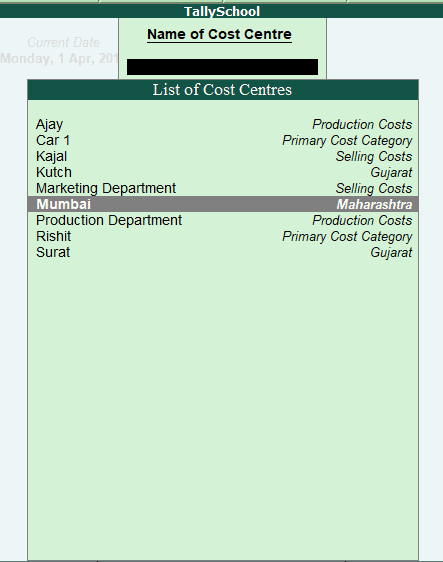 List of Cost Centre in Tally