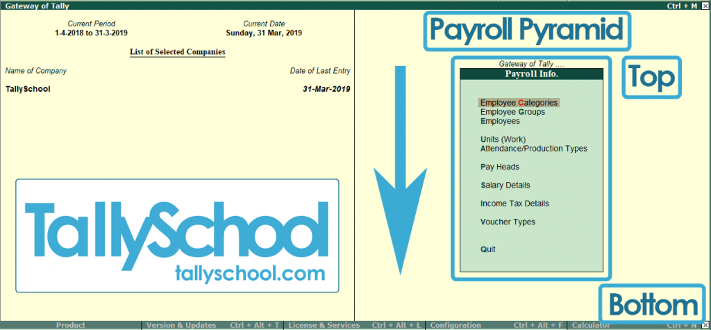 Payroll Info. Pyramid in Tally ERP 9