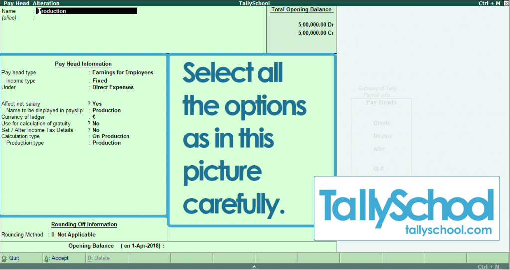 Production Pay Head in Tally ERP 9