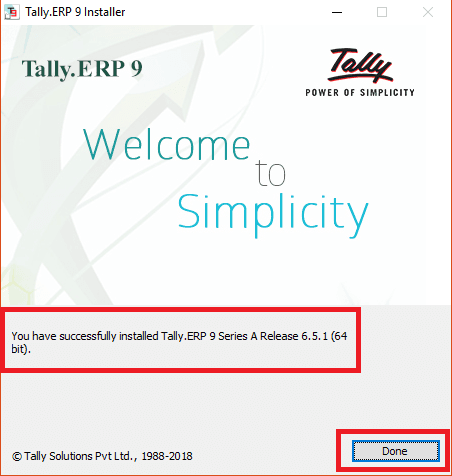 Tally ERP 9 Installation Done