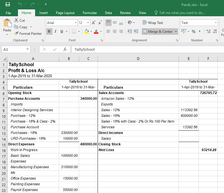 Profit & Loss Account in exported in Excel format in Tally ERP 9