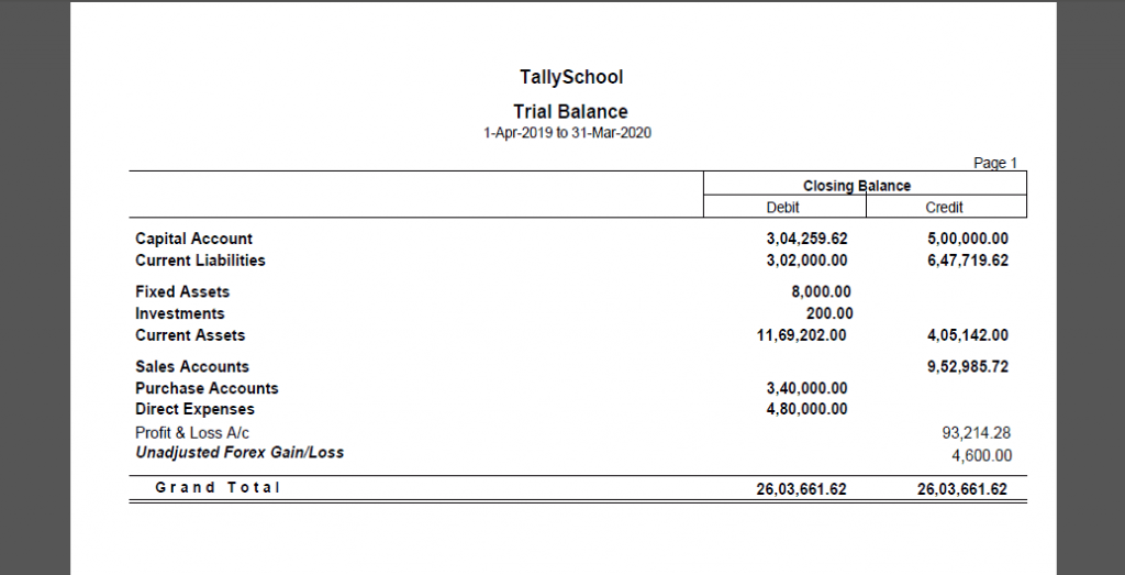 Trial Balance exported in PDF Format