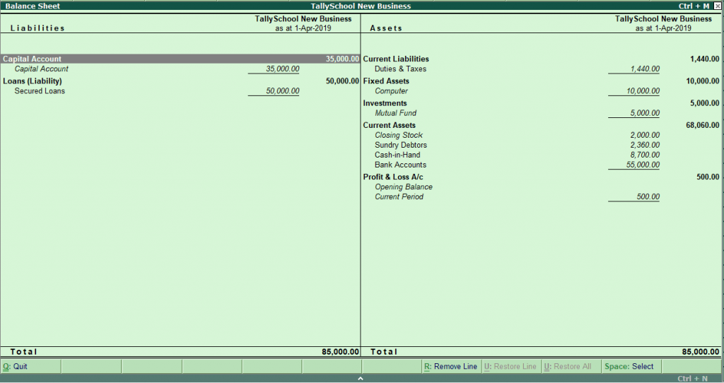 Balance Sheet in Tally for the First Time