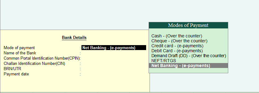 GST Details for Payment of GST under Reverse Charge in Tally ERP 9
