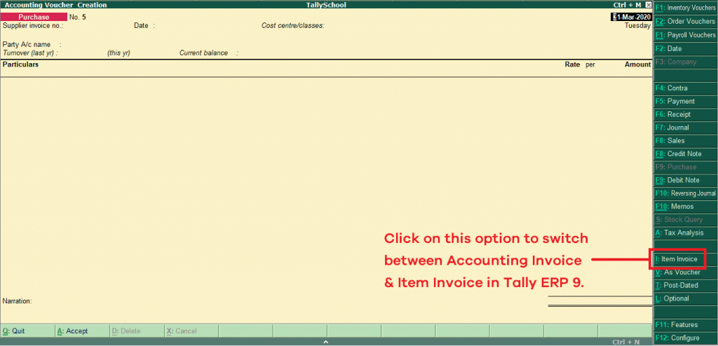 Purchase Voucher in Tally - Accounting Invoice