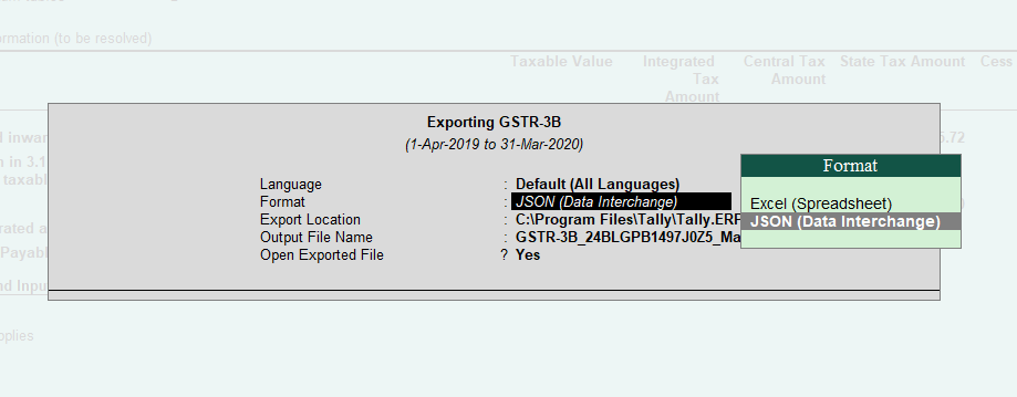 Export Options in GSTR 3B in Tally ERP 9