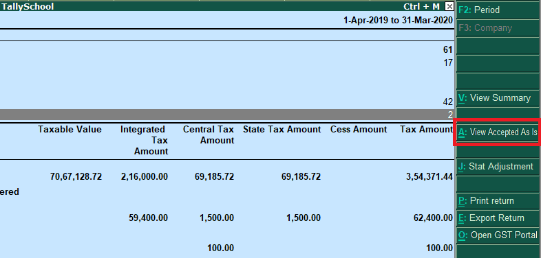 View Accepted As Is - GSTR 3B in Tally