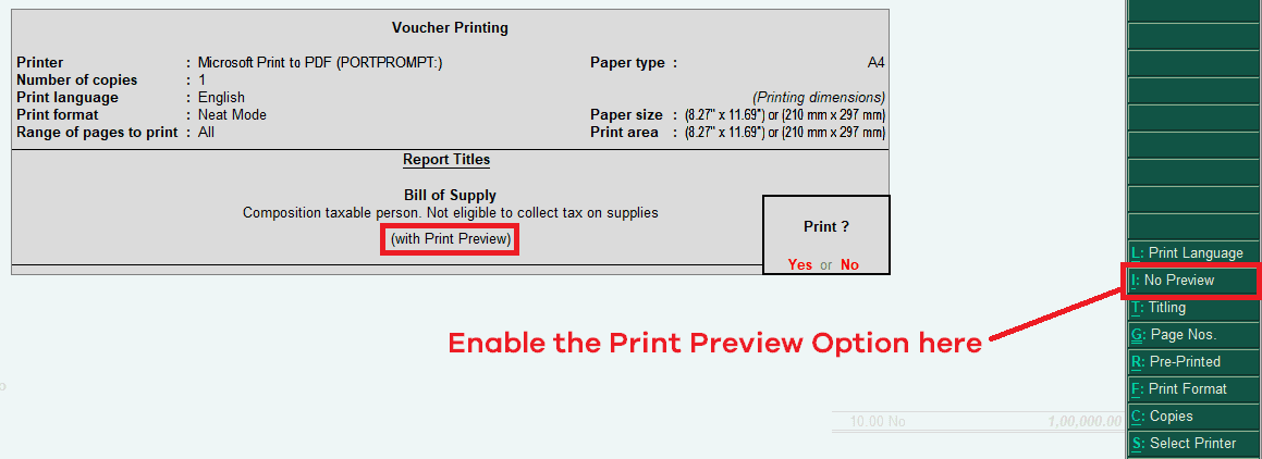 Voucher Print Preview Options in Tally ERP 9