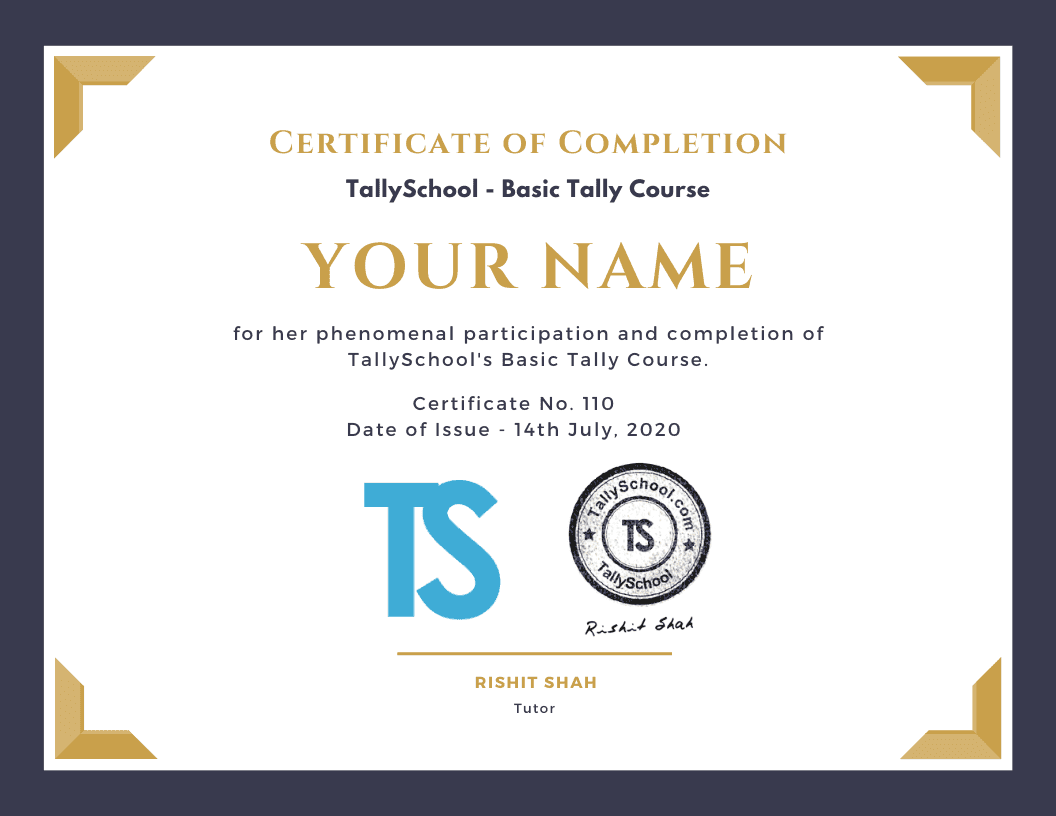 TallySchool - Basic Tally Course Certificate